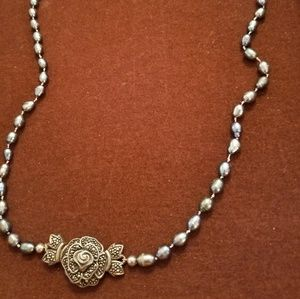 Sterling silver/black pearl necklace